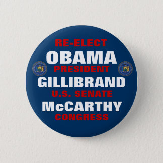 New York for Obama Gillibrand McCarthy 6 Cm Round Badge