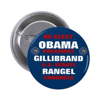New York for Obama Gillibrand Rangel 6 Cm Round Badge