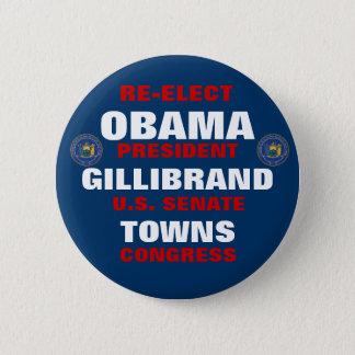 New York for Obama Gillibrand Towns 6 Cm Round Badge