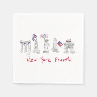 New York Fourth NYC Patriotic Landmarks Napkin Paper Napkin
