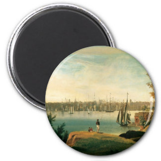 New York from Brooklyn Heights circa 1834 6 Cm Round Magnet