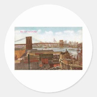 New York from Brooklyn Round Sticker