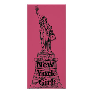 New York Girl Statue of Liberty Poster
