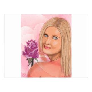 New York Girl with Rose Postcard