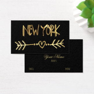 New York Gold Look Typography USA City Elegant Business Card