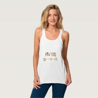 New York Gold Look Typography USA City Elegant Tank Top