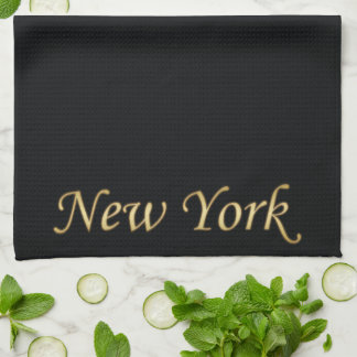New York Gold - On Black Tea Towel