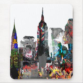New York graffiti skyline Mouse Mat