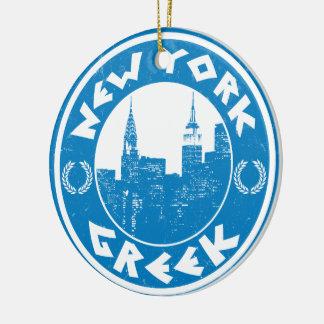 New York Greek American Christmas Ornament