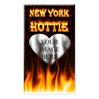 New York Hottie fire and red marble heart. Pack Of Standard Business Cards