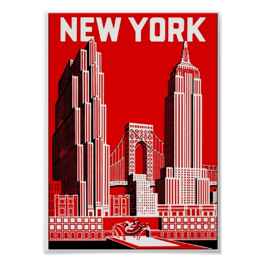 New York in Red, Vintage Travel Poster