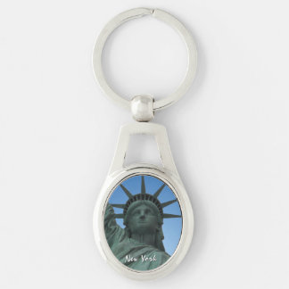New York Key Chain Statue of Liberty NYC Souvenirs Silver-Colored Oval Key Ring
