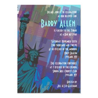 New York Lady Liberty Bar Bat Mitzvah Invitation