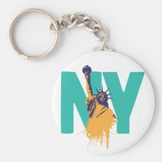 New York Lady Liberty Basic Round Button Key Ring
