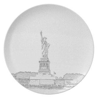 New York Liberty Sketch Party Plates