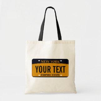 New York license plate tote bag