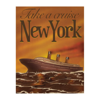 New York liner vintage travel poster Wood Prints