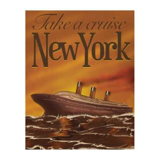 New York liner vintage travel poster Wood Prints