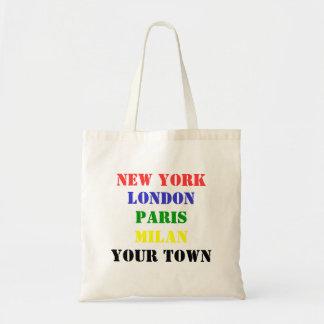 New York, London, Paris, Milan, Your Town tote bag