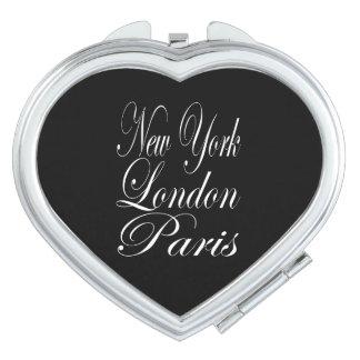 New York  London  Paris – Typography Quote Vanity Mirror