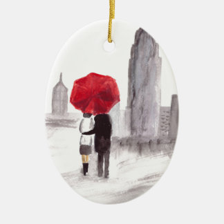 New York love couple with red umbrella Ceramic Oval Decoration