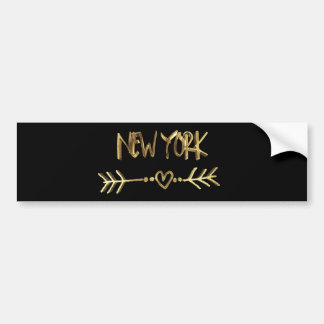 New York Love USA Black and Gold Look Typography Bumper Sticker