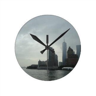 New York Manhattan Hudson River Gift Round Clock
