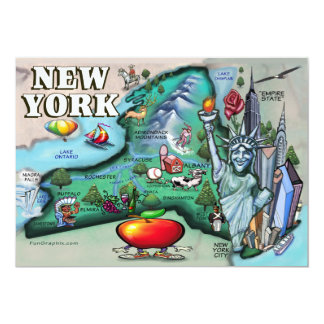 New York Map CARD 13 Cm X 18 Cm Invitation Card