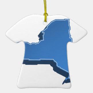 New York Map Icon Ceramic T-Shirt Ornament