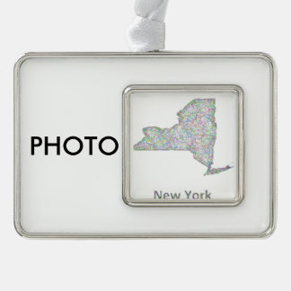 New York map Silver Plated Framed Ornament