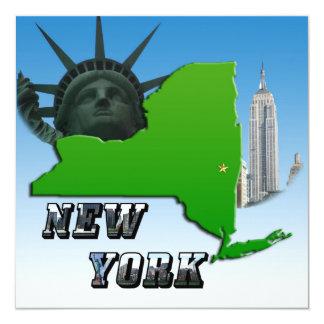 New York Map, Statue of Liberty, Monument 13 Cm X 13 Cm Square Invitation Card