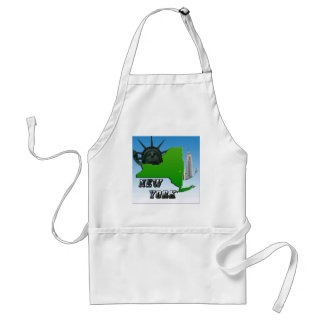 New York Map Statue of Liberty Monument Aprons