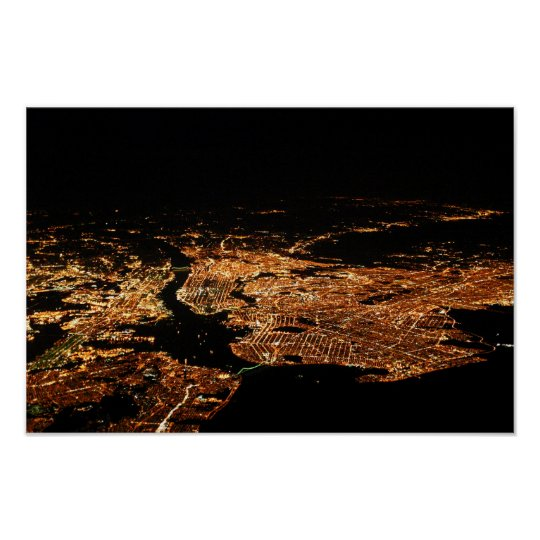 New York Metro Aerial Night Poster