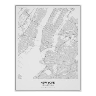 New York Minimalist Map Poster (Style 2)