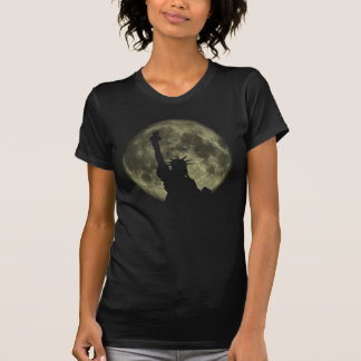 New York Moon and Statue Of Liberty T-shirt