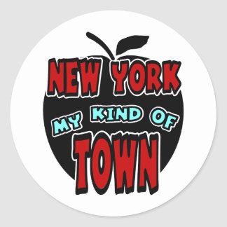 New York My Kind Of Town With Big Apple Round Sticker