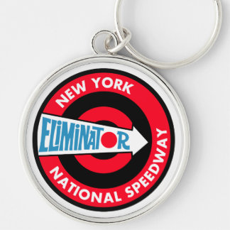 New York National Speedway Vintage sign Silver-Colored Round Key Ring