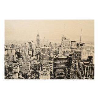 New York, New York (black & white panorama) Wood Print