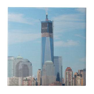 New York, New York. Manhattan City Skyline Small Square Tile