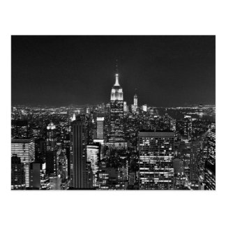 New York night skyline in black and white Postcard
