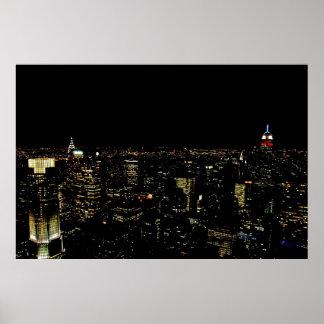 New York night skyline Print