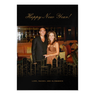 New York Nights Holiday Photo Card Personalized Invites
