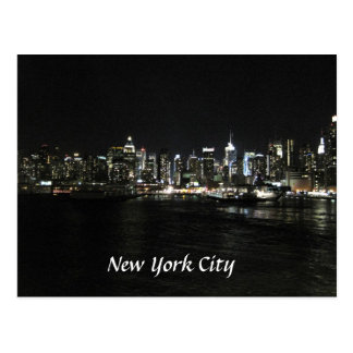 New York Nighttime Skyline Postcard