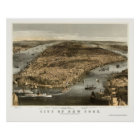New York, NY Panoramic Map - 1856 Poster