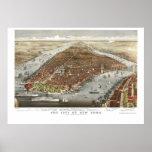 New York, NY Panoramic Map - 1876 Poster
