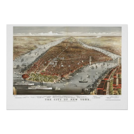 New York, NY Panoramic Map - 1876 Poster