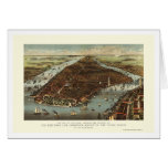 New York, NY Panoramic Map - 1883 Greeting Card