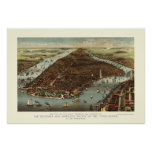 New York, NY Panoramic Map - 1883 Poster