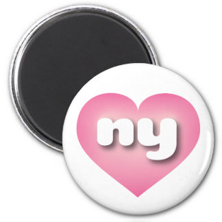 New York ny pink fade heart 6 Cm Round Magnet