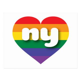 New York ny rainbow pride heart Post Cards